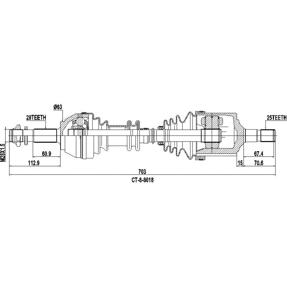 Вал привода в сборе CITROEN C25 Box (280_, 290_) 2.0 ODM CT88018