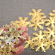 100pc Gold Silver Cloth Christmas Snowflake Confetti Decoration 4cm Home Party New Year Decor L0917