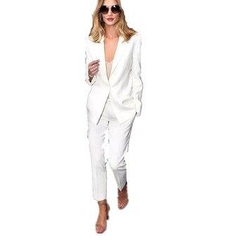 CUSTOM white trouser suit womens business suits ladies winter formal female office uniform work tuxedo