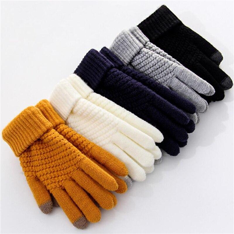 Женские и мужские теплые эластичные вязаные варежки Зимние перчатки для сенсорного экрана, варежки с имитацией шерсти, женские вязаные крючком варежки, 2020|Мужские перчатки| | АлиЭкспресс