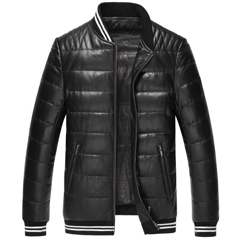 Leather Jacket 2020 Winter Duck Down Jacket Men Sheepskin Coat Korean Fashion Baseball Jackets Veste Homme 15Z1507 YY294