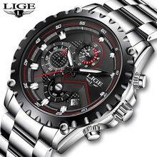 Часы наручные lige Мужские кварцевые брендовые модные спортивные