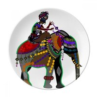 Elephant Trekking China Minority Dressing Totem Dessert Plate Decorative Porcelain 8 inch Dinner Home