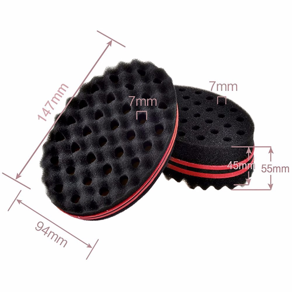 New Oval Shape Double Sides Magic Twist Hair Brush Sponge For Natural Hair, Hair Curl Afro Coil Wave Dreads Sponge Brush