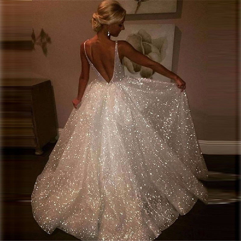 Europe And America New Style Dress Hot Selling Sexy Deep V Backless Formal Dress Sequin Big Skirt
