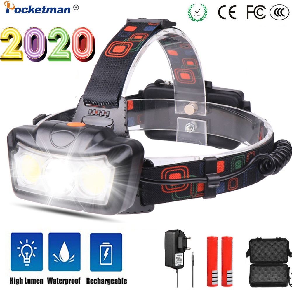 Outdoor Camping Portable Super Bright T6+COB LED Headlamp Powerfull  Headlight Use Rechargeable 2*18650 Battery For Camping
