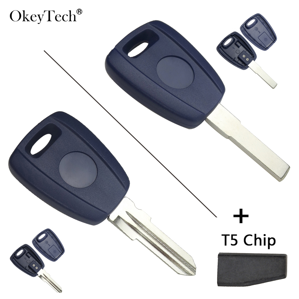 OkeyTech <font><b>Replacement</b></font> Transponder <font><b>Fob</b></font> <font><b>Key</b></font> Fit For <font><b>Fiat</b></font> 500 Bravo Punto Ducato Daily Scudo With T5 Chip SIP22/GT15R Uncut Blade image