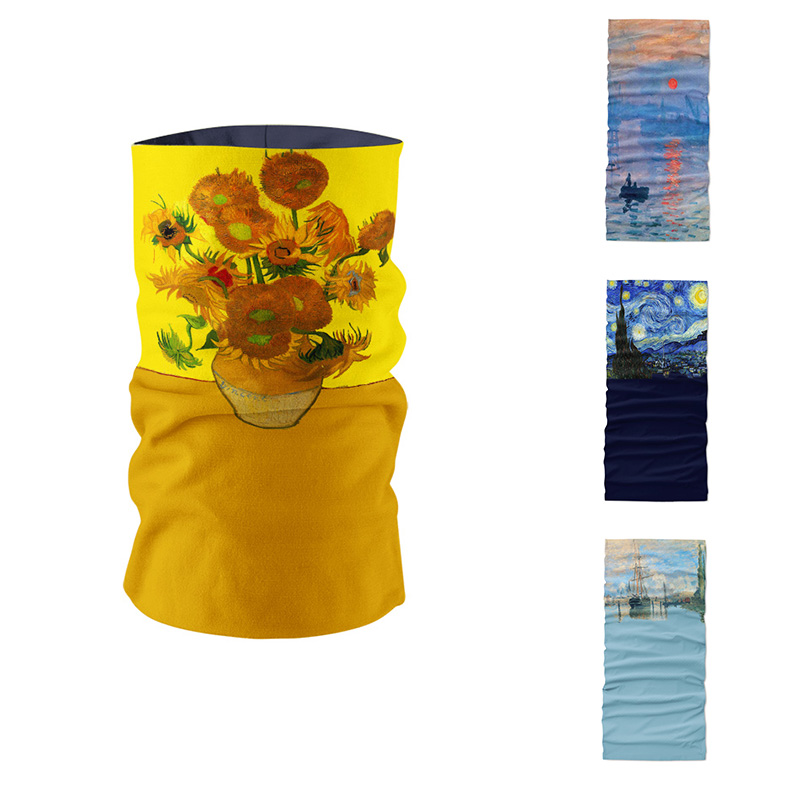 New 3D Printed Van Gogh Oil Painting Art Women Ring Scarf Microfiber Seamless Tubular Bandana Magic Sports Cycling Mask Bandana