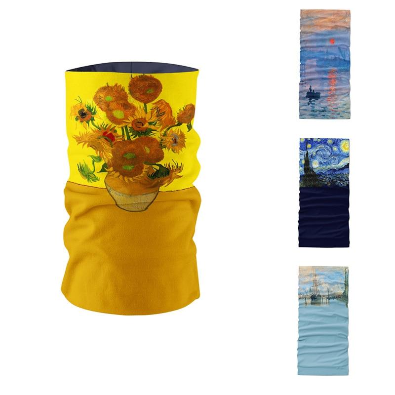 New 3D Printed Van Gogh Oil Painting Art Women Ring Scarf Microfiber Seamless Tubular Bandana Magic Sports Cycling Mask Bandana