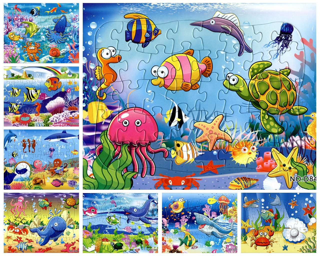 2pcs/lot Kids Cartoon Puzzle 40Pieces Paper Marine Undersea World  Sea Turtle Shark Animal Toys Puzzles Jigsaw Puzzel Toy Gift