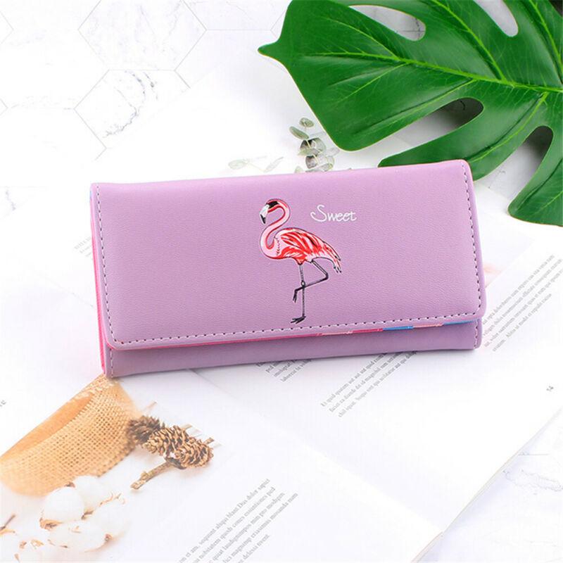 Flamingo PU Wallet For Women Girls Credit Card Purse Holder Portable Cute Bags