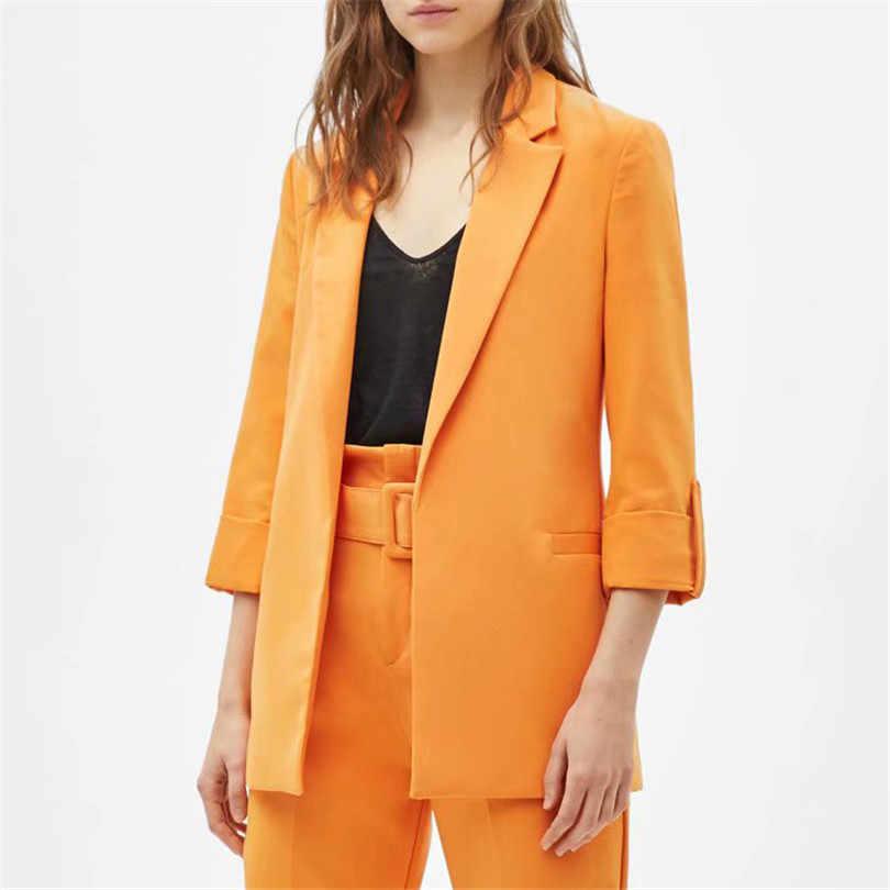 女性シックな orange 緩いブレザー 2019 女性のカジュアルポケット 3 分袖オープンステッチ事務服コート