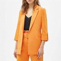 women chic orange loose blazer 2019 female casual outerwear tops pockets three quarter sleeve open stitch office wear coat
