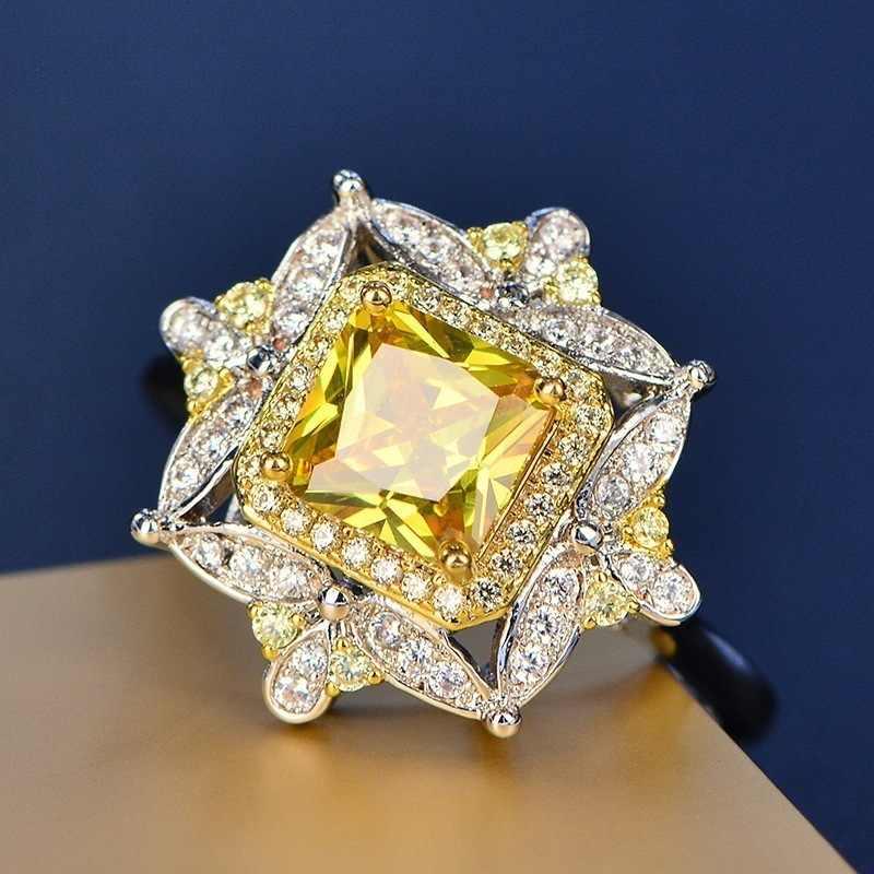 Anillo de mujer de cristal amarillo de lujo más vendido anillo de compromiso de boda de moda 925 anillo de plata de alta calidad Z5M373