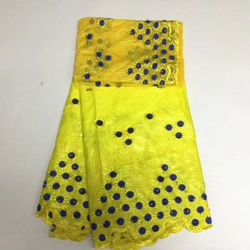 Most popular blue+yellow bazin riche fabric high quality bazin riche getzner embroidered materials for party dres PL15502