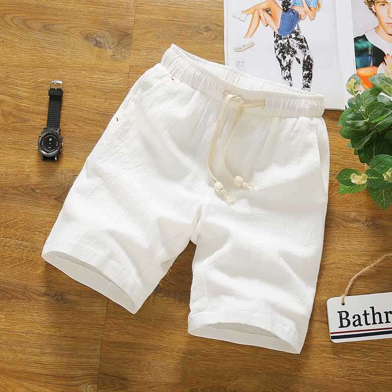 Summer Men Casual Pure Cotton Shorts Large Size 5 Shorts Solid Color Youth Slim Fit Shorts MEN'S Beach Shorts Fashion