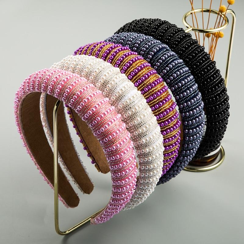 Full Crystal Luxury Hair Accessories Hairbands Sparkly Padded Rhinestones Headbands Headdress Black White Pink Women Headband