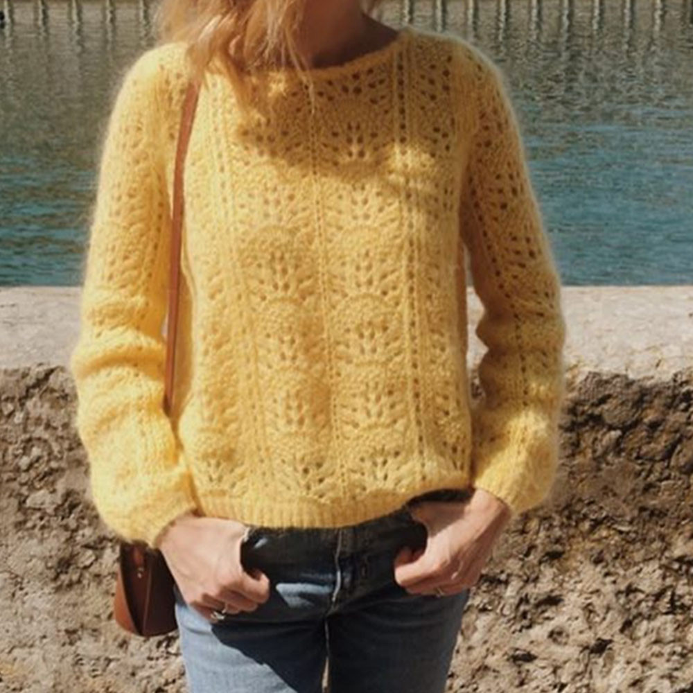 French Mohair Women Hollow Out Knitted Loose Sweater Wool Pullover Pull Femme Sweter 2019 Long sleeve Loose Sweaters Pullovers