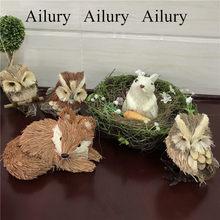Floresta de páscoa animal família decorações, acessórios de decoração para casa, ninho de pássaro coelho cenouras, coruja palha, pequena raposa