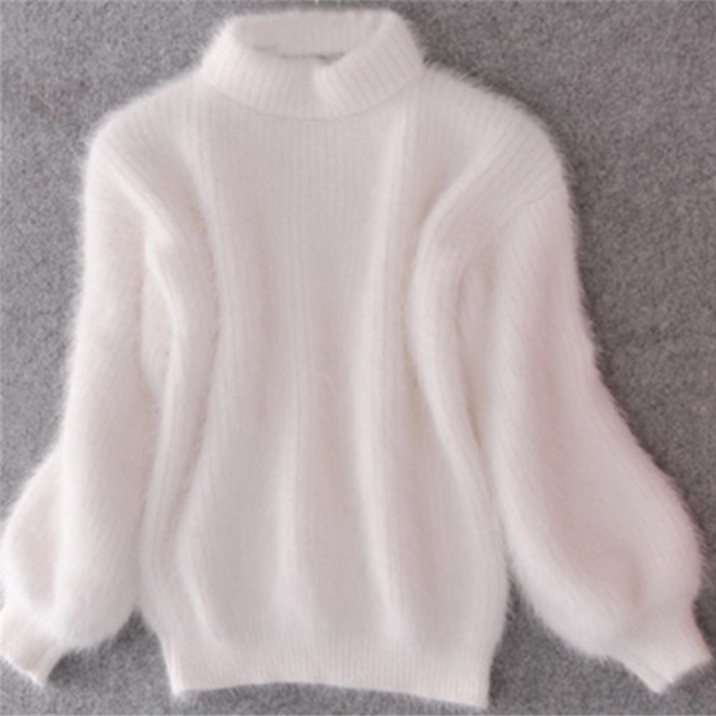 2019 New Fashion Women Winter Sweater Thickened Warm Turtleneck Mohair Female Sweater  Casual Solid Lantern Sleeve Slim Pullover
