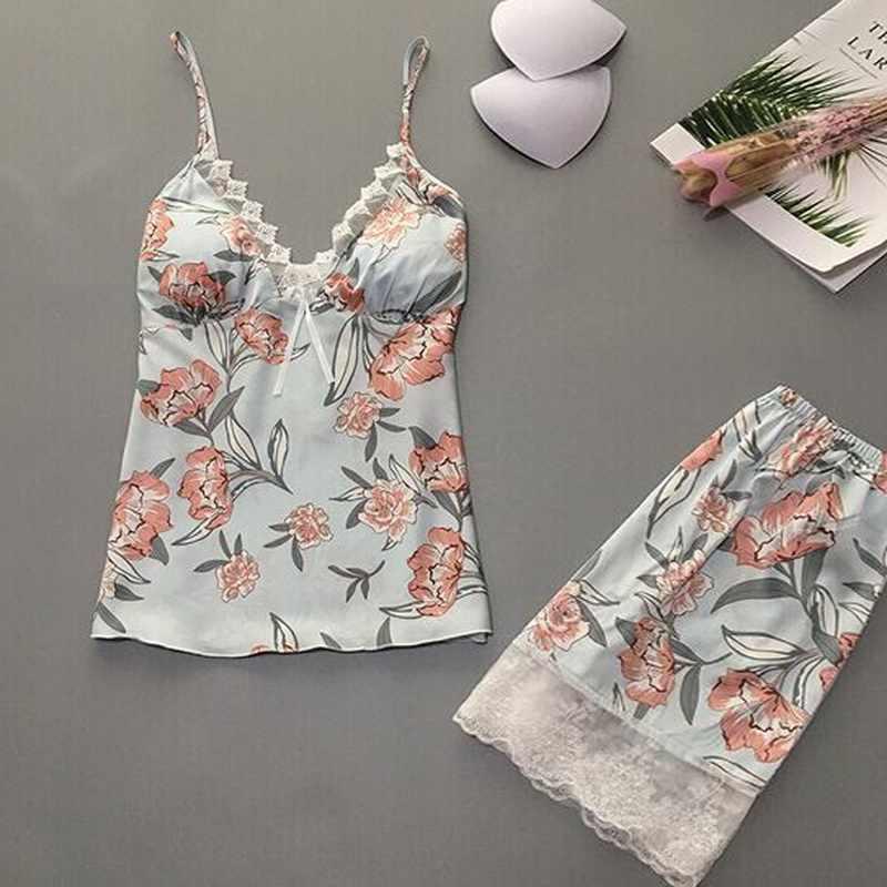 2020 Vrouwen Pyjama Sets Nachtkleding 2 Pcs Satijn Kant Mouwloze Sexy Pijama Mujer Zomer Pyjama Lingerie Nachtkleding Homewear