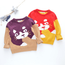 Children pullover cute kitten pattern sweaters baby boy girl winter clothes fashion sweater tops Kids Tiny cottons 2019
