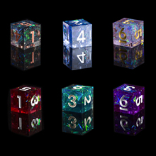 DND Role Playing Game Dice 100% Handcrafted D6 Collection Polyhedral Mirror Dice Sets with Sharp Edges and Beautiful Inclusions