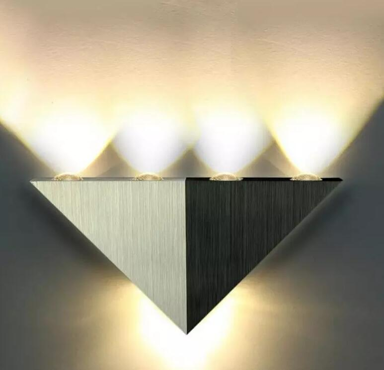 5W Aluminum Triangle LED Wall Lamp Modern Home Decoration Bracket Lighting Light Indoor Warm White And Cool White Wall Sconce AC
