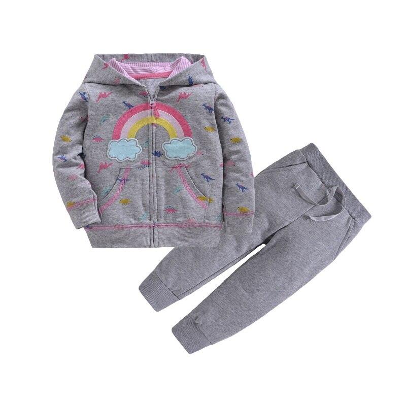 Одежда для маленьких девочек пальто с капюшоном с длинными рукавами и вышитым единорогом+ штаны, г. Весенняя одежда для маленьких мальчиков комплект для малышей, одежда для малышей - Цвет: 13