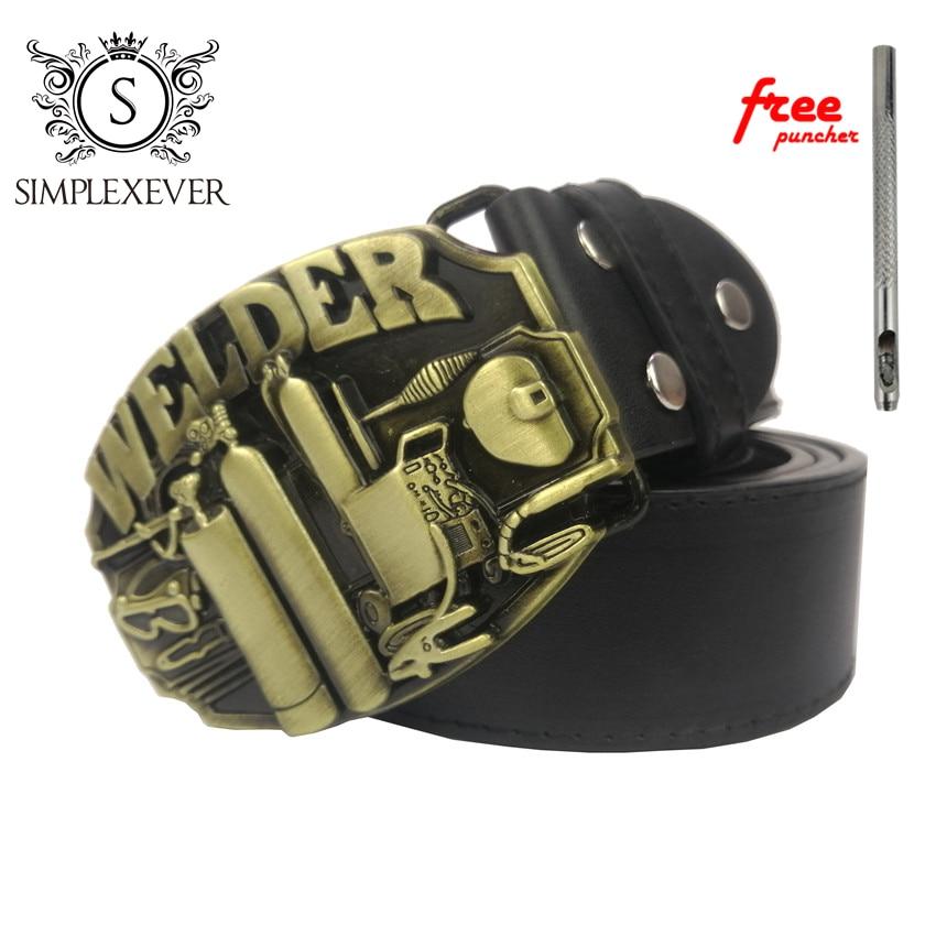 Solid Brass Belt Buckle WELDER Metal Belt Buckle with Belt for Men Cowboy Belt Buckle Drop Shipping
