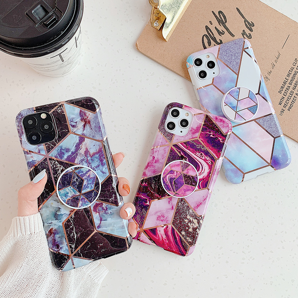 Classic Marble Phone Case For iPhone 11 Pro Max XR XS Max X 7 8 6 6S Plus Flexible Stand Holder Soft IMD Back Cover Coque