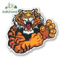 EARLFAMILY 13cm x Funny Car Stickers Angry Lion Tiger Waterproof Anime Vinyl JDM Bumper Trunk Truck Graphics Accessories