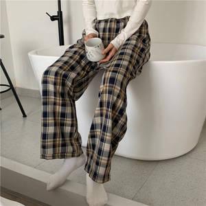 Sleep Bottom Home Pants Women Homewear Plaid Ankle Length Pajamas Pant Wide-Leg Comfortable Elastic Vintage Oversized Pyjamas