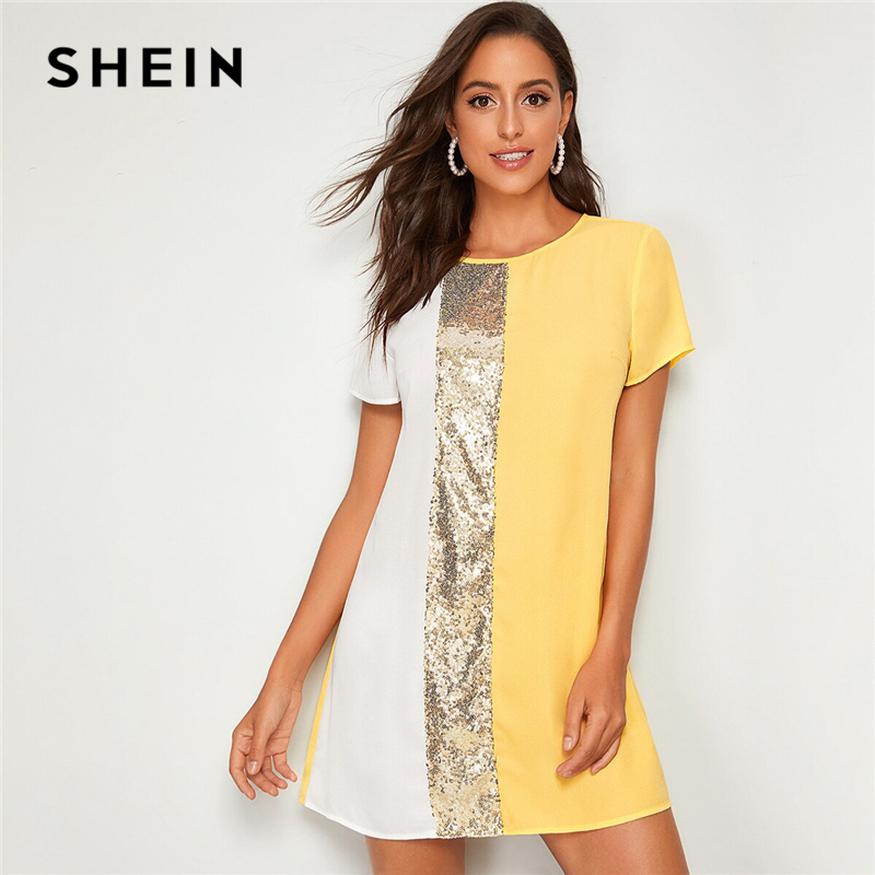 Image 3 - SHEIN Sequin Detail Colorblock Tunic Short Dress Women Keyhole Back Short Sleeve Round Neck Straight Loose Casual Dresses-in Dresses from Women's Clothing