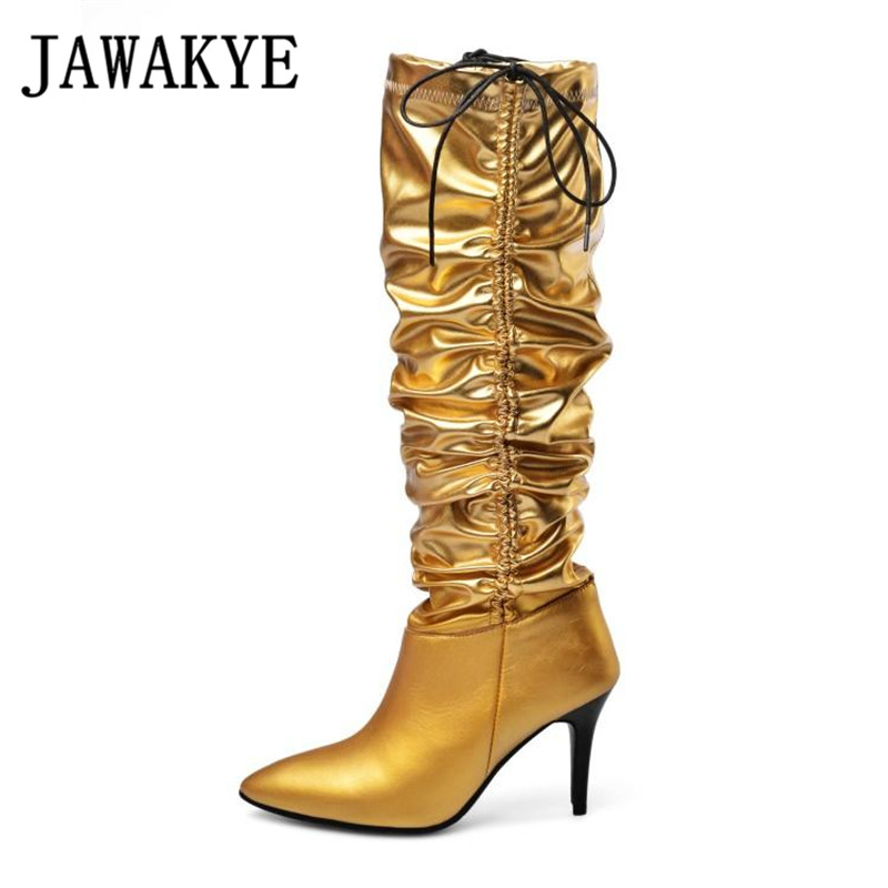 Doble arrugado rodilla botas altas mujeres botas Sexy Punta Delgada de tacón alto deslizamiento largo botas T mostrar de plata de oro botines femenina