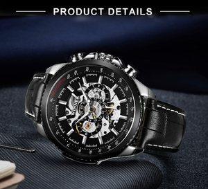 Image 5 - WINNER Official Automatic Watch Men Military Skeleton Mechanical Watches Genuine Leather Strap Luxury Dress Mens Wristwatches