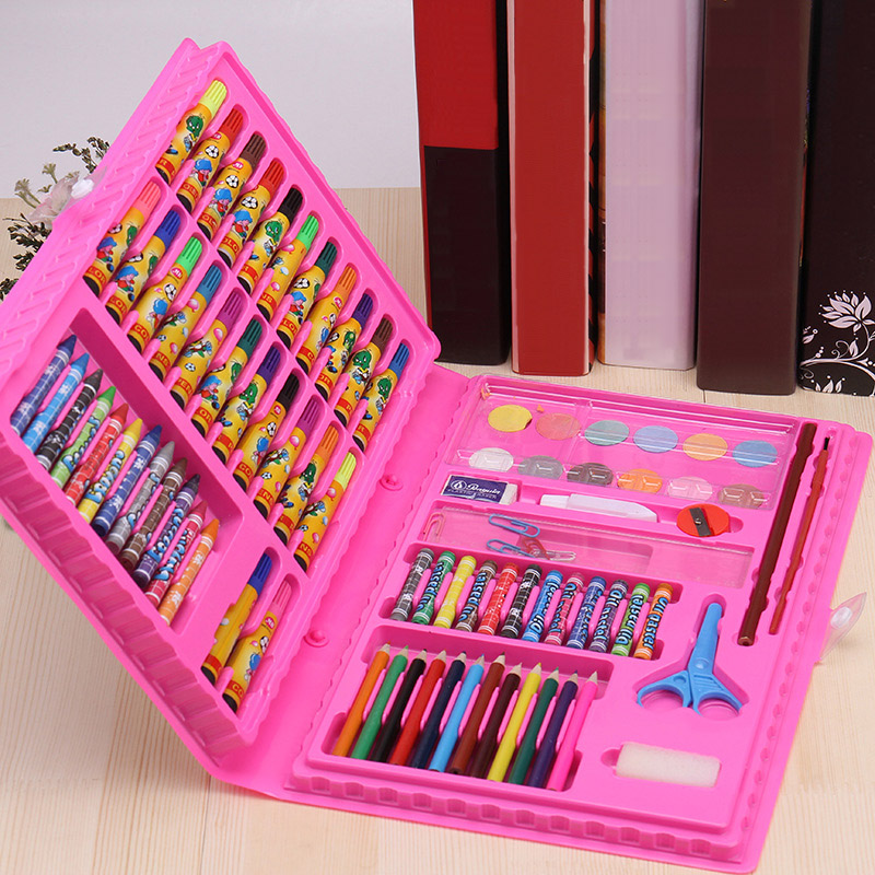 Image 3 - New Sale 86 Pcs Children Painting Tools Art Supplies for Drawing with Watercolor Pen Ruler Eraser SharpenerCrayons   -
