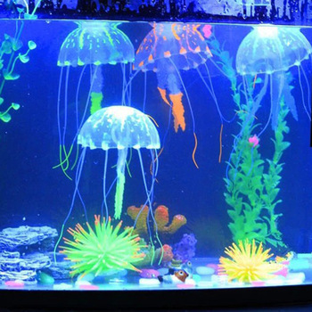 Sztuczny pływać świecący efekt meduza akwarium dekoracja do akwarium podwodna żywa roślina Luminous Ornament wodny krajobraz tanie i dobre opinie CN (pochodzenie) Artificial Jellyfish Ryby-ozdoby Silicone support