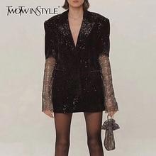 TWOTWINSTYLE Patchwork Diamonds Elegant Womens Coats Notched Long Sleeve Perspective Coat Female 2020 Autumn Fashion New