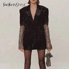 TWOTWINSTYLE Patchwork diamenty eleganckie damskie płaszcze ścięty z długim rękawem perspektywa płaszcz kobiet 2020 moda jesień nowy