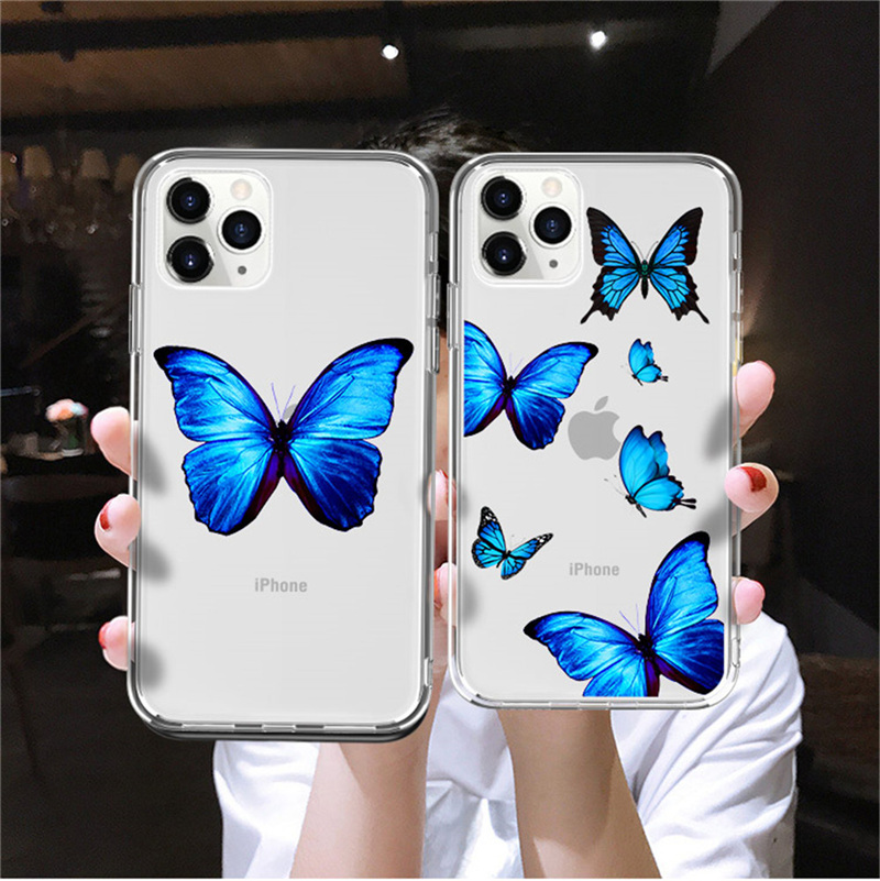 Kowkaka Transparent Blue BGutterfly Phone Case For IPhone 11 Pro Max X XR XS 6 6s 7 8 Plus Simple Cartoon Silicone Back Cover