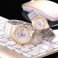 Di Lusso di Marca Nuove Donne Degli Uomini di Coppia Orologi Lunetta in Oro Quadrante Bianco Meccanico Automatico in Acciaio Inox Zaffiro Diamante Roma Orologio