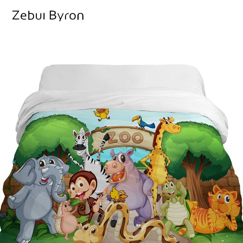 3D Cartoon Duvet Cover,comforter/Blanket Cover for kids/baby/children,Quilt cover for 90/150/135 bed,Bedding animal zoo