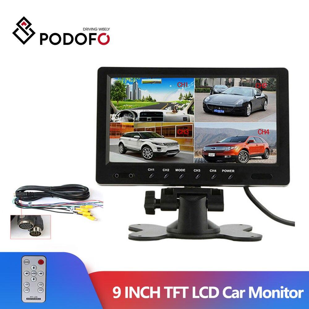 "Podofo 9"" TFT LCD Split Screen Quad Monitor CCTV Security Surveillance Car Headrest Rear View Monitor 4 RCA Connectors 6 Mode monitor 4 quad monitor rear view monitor - title="