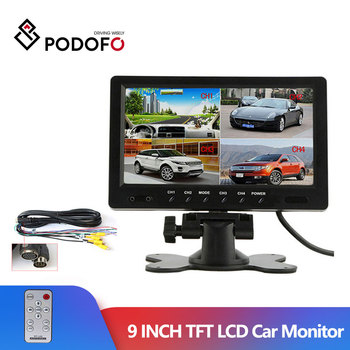 "Podofo 9"" TFT LCD Split Screen Quad Monitor CCTV Security Surveillance Car Headrest Rear View Monitor 4 RCA Connectors 6 Mode"
