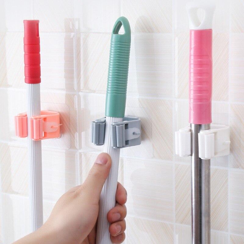 3Pcs Mop Broom Holder Wall Mounted Mop Holder Household Adhesive Storage Broom Hanger Mop Hook Racks Kitchen Bathroom Organizer