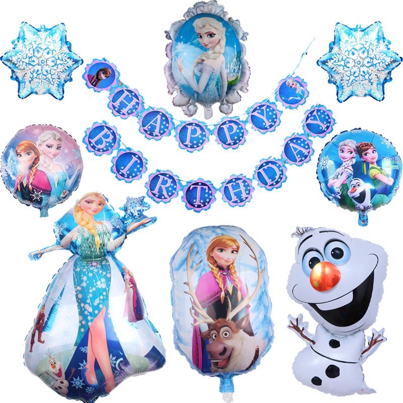 1set Elsa Anna Princess Birthday Party Balloons Snow Queen Baby Girl Foil Ballons Birthday Party Decoration Kids Toy Gift Banner