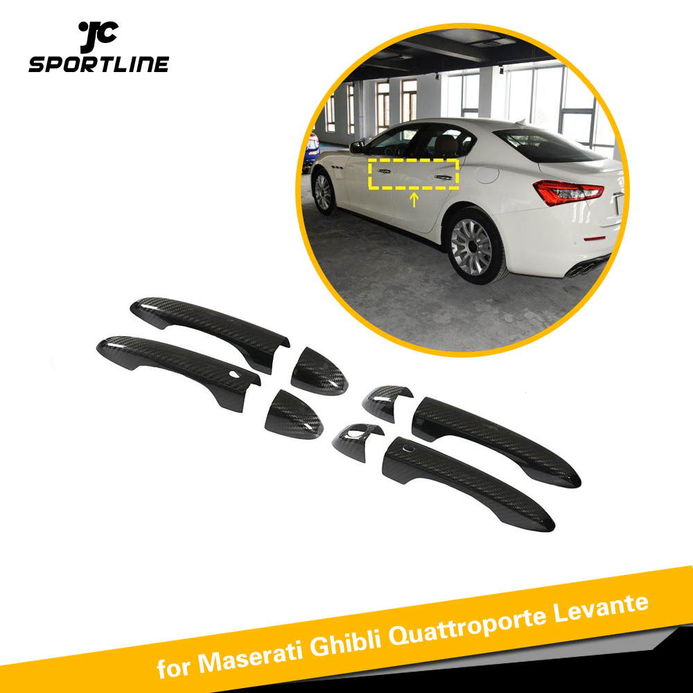 High Quality 100% Real Carbon Fiber Auto Door Handle Cover Trims for Maserati Ghibli Quattroporte Levante LHD image