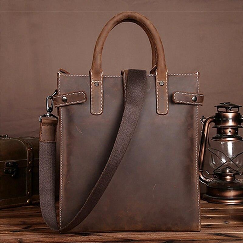 BAOERSEN, мужская сумка через плечо, сумка тоут, Crazy Horse, кожаный деловой портфель, для мужчин, планшет, сумка мессенджер, на плечо, с верхней ручкой, сумки - 5