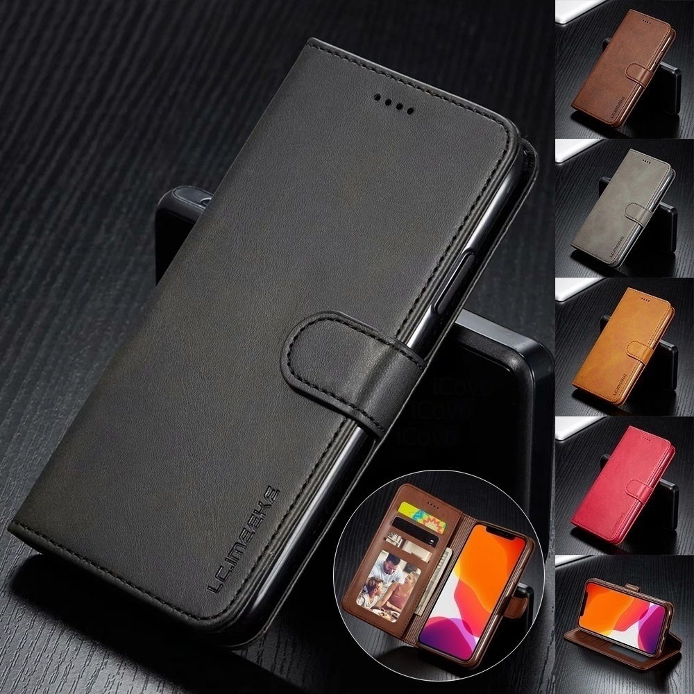 Leather Wallet Case for iPhone 12 Pro Max Mini 11 XS XR X SE 2020 8 7 6 6s Plus 5S 5 Luxury Flip Cover Coque Card Slots Magnetic